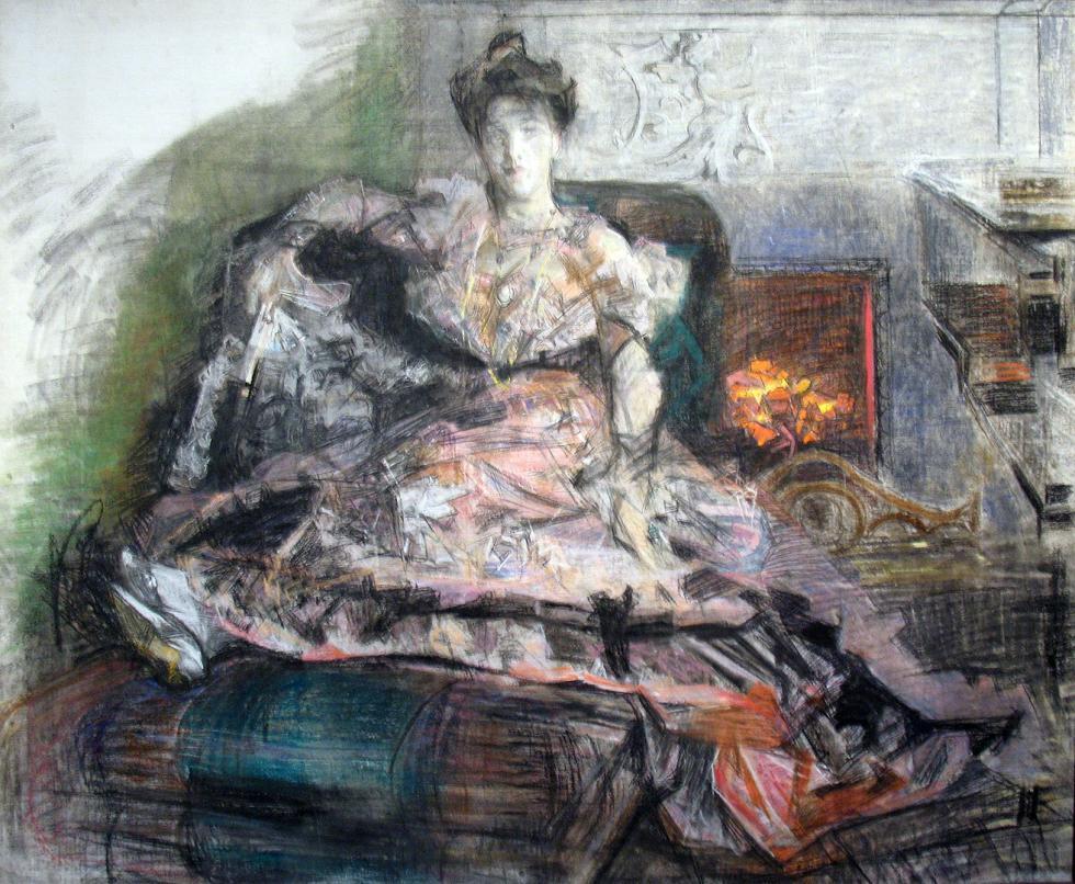 《演出之后》,未完成的娜杰日达·扎别拉-弗鲁别利画像,1905年,国立特列季亚科夫画廊