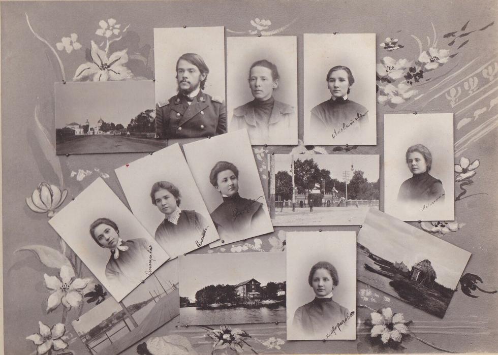 沃罗涅日玛利亚女子中学毕业照的一页,1905年。档案图片