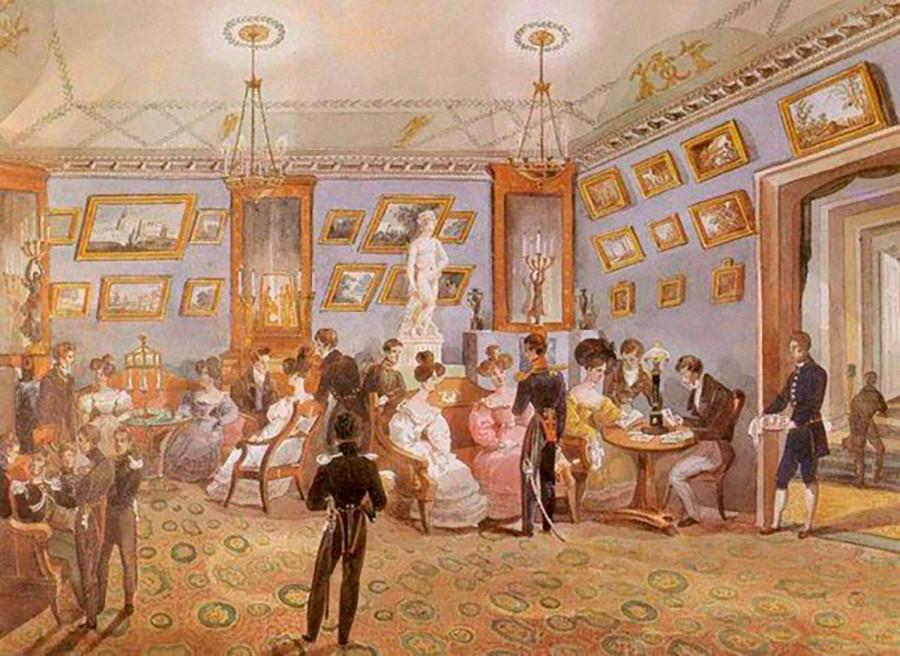 """1830年代,不出名的画家,""""贵族晚会""""水彩画。公开来源"""