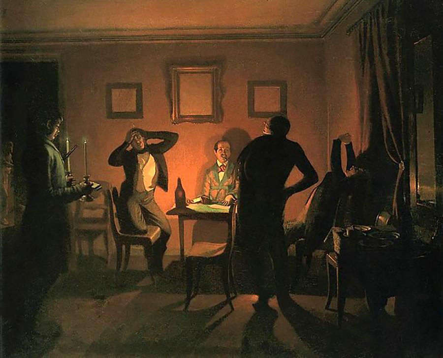 """1852年,帕维尔·费多托夫(Pavel Fedotov),""""纸牌玩家""""油画。图片来源:Kiev art gallery"""