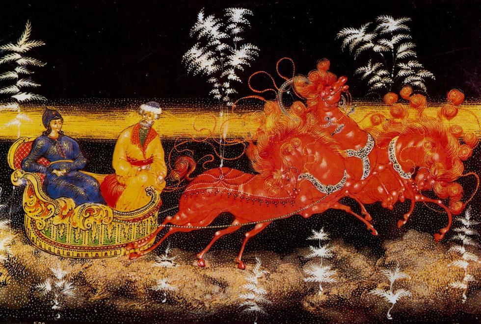 """小型漆画描绘的常常是俄罗斯民间故事或日常生活题材,不过也有描绘红军和革命者的""""宣传画"""""""