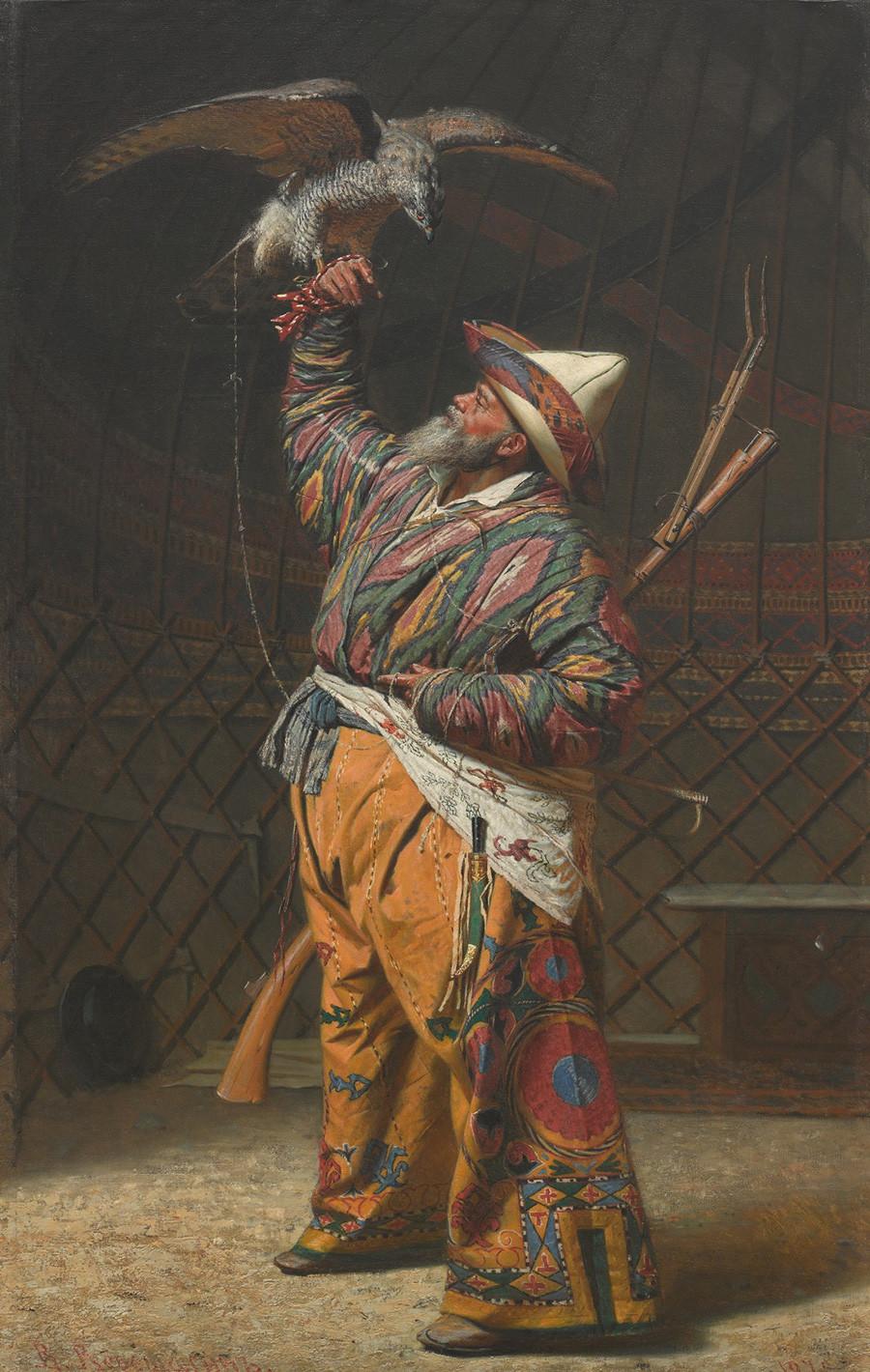 《拥有猎鹰的富有吉尔吉斯猎人》,1871 年 / 特列季亚科夫画廊