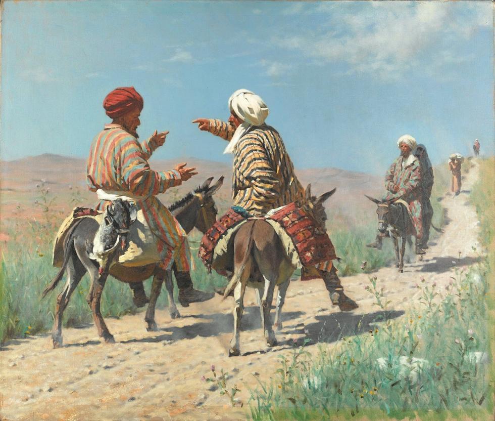 《拉希姆毛拉与克里姆毛拉在去集市的路上争吵》,1873 年 / 特列季亚科夫画廊