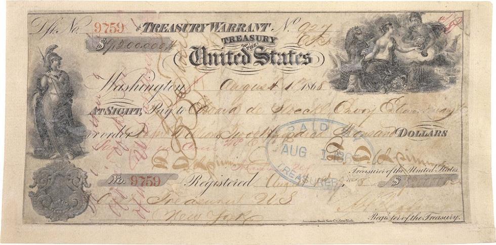 美国购买阿拉斯加签发的银行支票,总额720万美元。 来源:Press Photo